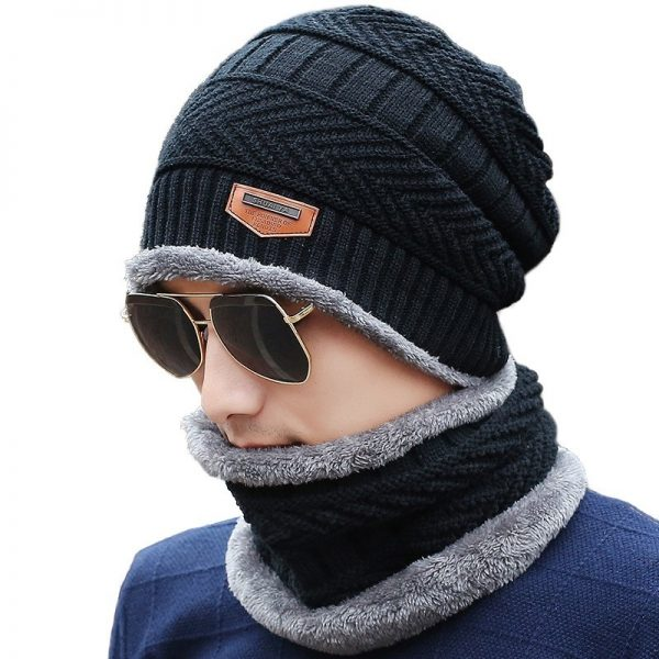 2017 New Knitted Winter Hat Scarf Beanies Knit Men s Winter Hats Caps Skullies Bonnet For 6