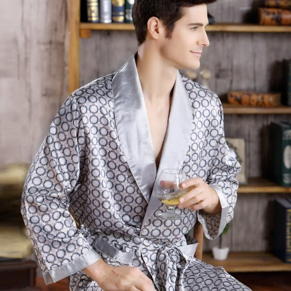 2018 New Spring Autumn Luxury Bathrobe Mens Print Plus Size Silk Satin Pajamas Kimono Summer Male.jpg 640x640