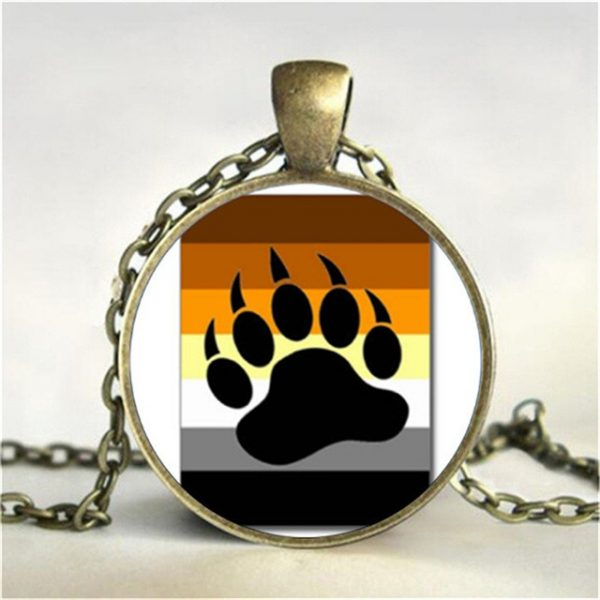 Bear Pride Ying Yang with Paw Gay Pride Photo Charm Pendant rainbow necklace pendant Handmade glass 12.jpg 640x640 12