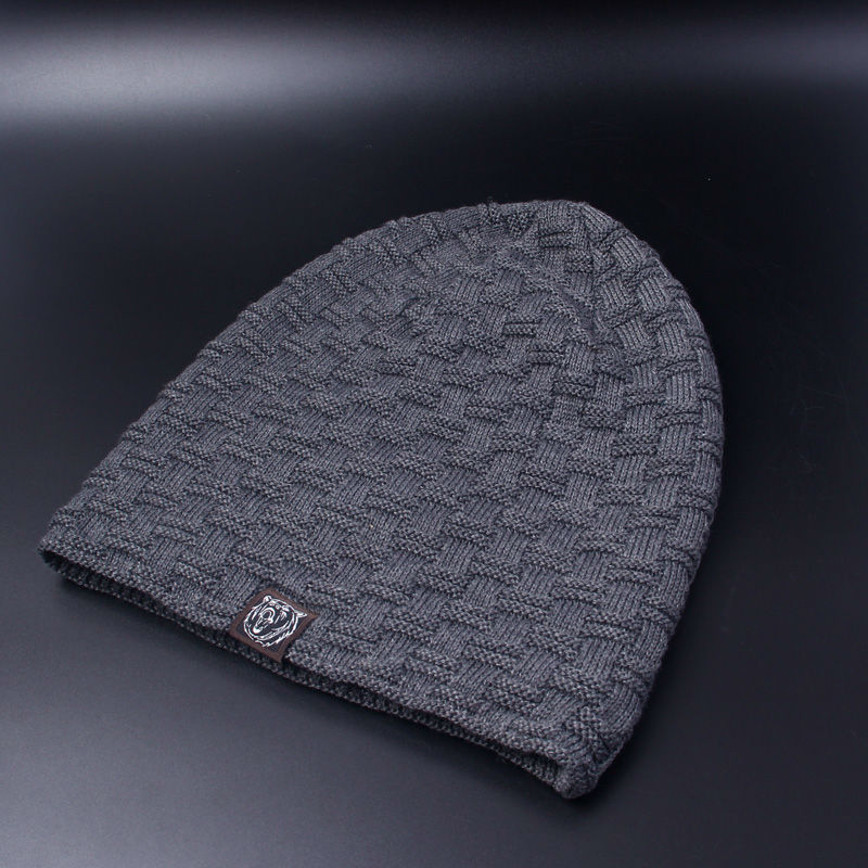 Casual Brand Men Winter Hat Beanie Hats Fur Warm Baggy Knitted Skullies Bonnet Ski Sports Adult 2