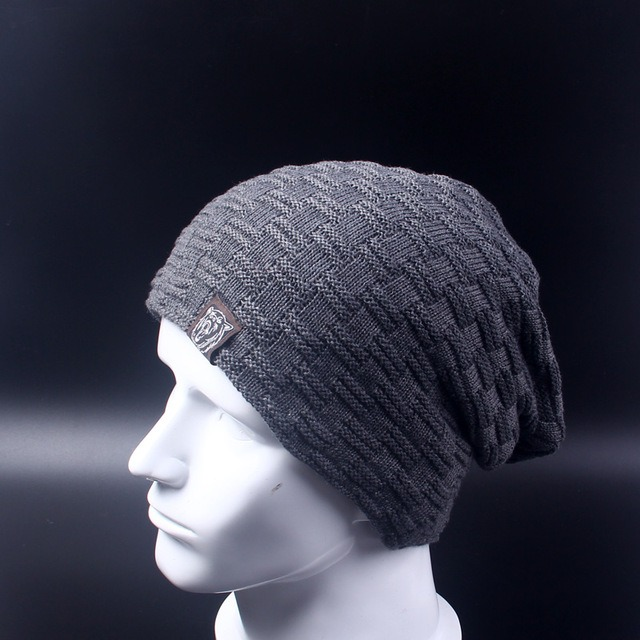 Casual Brand Men Winter Hat Beanie Hats Fur Warm Baggy Knitted Skullies Bonnet Ski Sports Adult 4.jpg 640x640 4