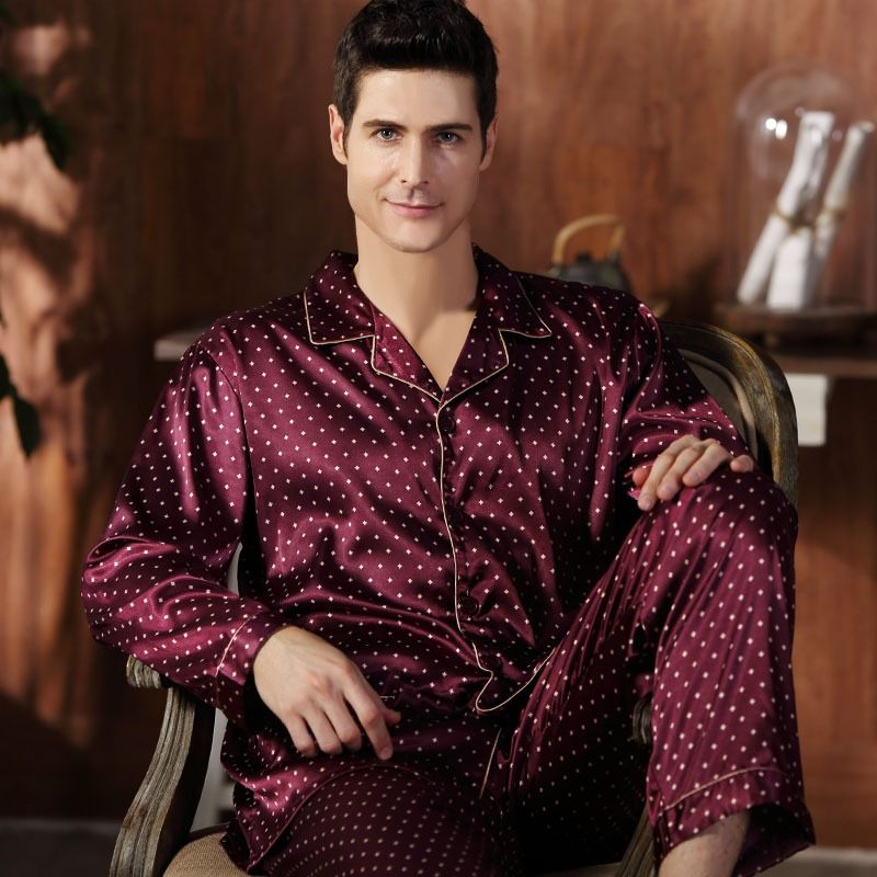 CherLemon High Quality Silk Men Pajamas Sleepwear Long Sleeved Silk Satin Nightwear Soft Spring Autumn Pyjamas 2