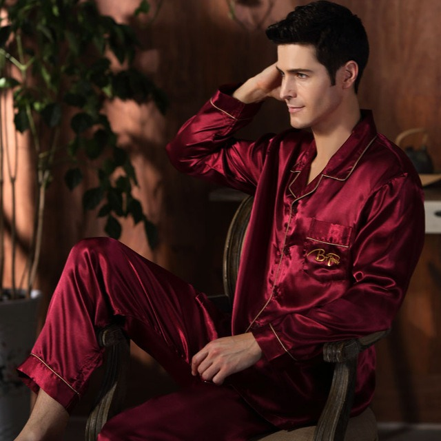 CherLemon High Quality Silk Men Pajamas Sleepwear Long Sleeved Silk Satin Nightwear Soft Spring Autumn Pyjamas 3.jpg 640x640 3