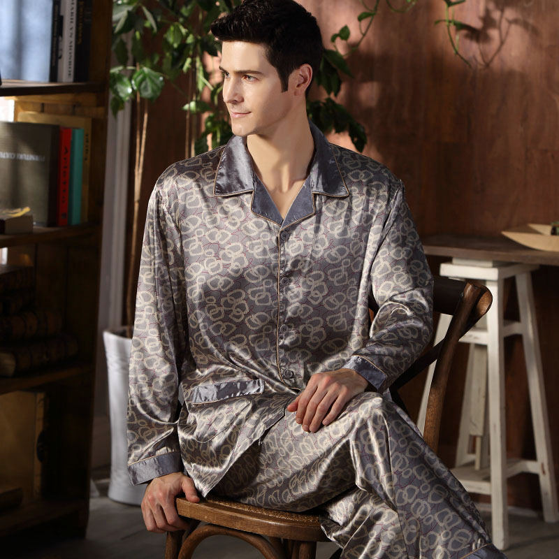CherLemon High Quality Silk Men Pajamas Sleepwear Long Sleeved Silk Satin Nightwear Soft Spring Autumn Pyjamas 4