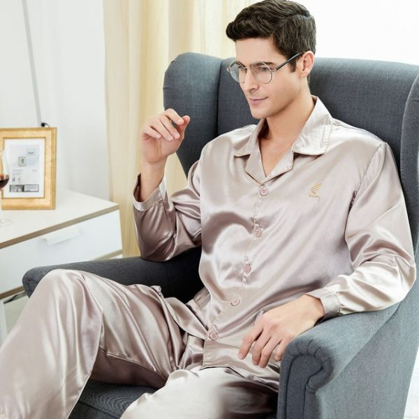 CherLemon High Quality Silk Men Pajamas Sleepwear Long Sleeved Silk Satin Nightwear Soft Spring Autumn Pyjamas 6.jpg 640x640 6