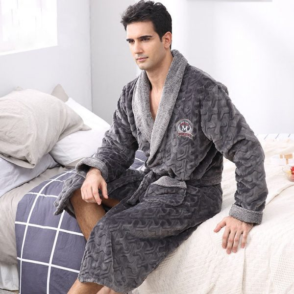 CherLemon Winter Flannel Robe Sleepwear Thicking Mens Warm Spa Bathrobe Pajamas Male Long Sleeve Belt Solid 3