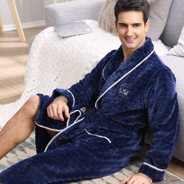 CherLemon Winter Flannel Robe Sleepwear Thicking Mens Warm Spa Bathrobe Pajamas Male Long Sleeve Belt Solid