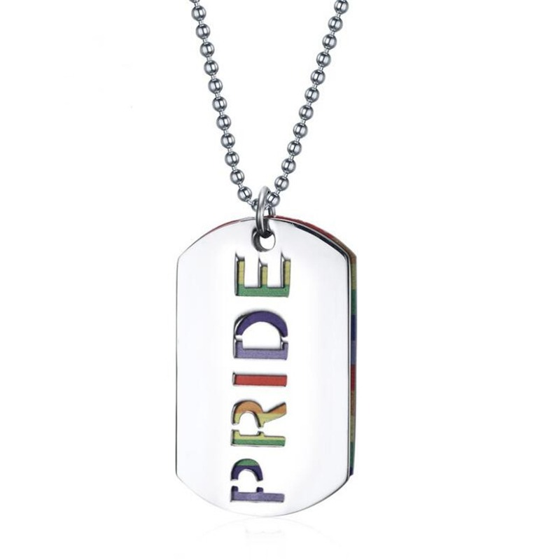Double Layer Stainless Steel Rainbow Necklace Gay Pride Dog Tag Necklace LGBT Rainbow Lesbian Pride Necklace 2
