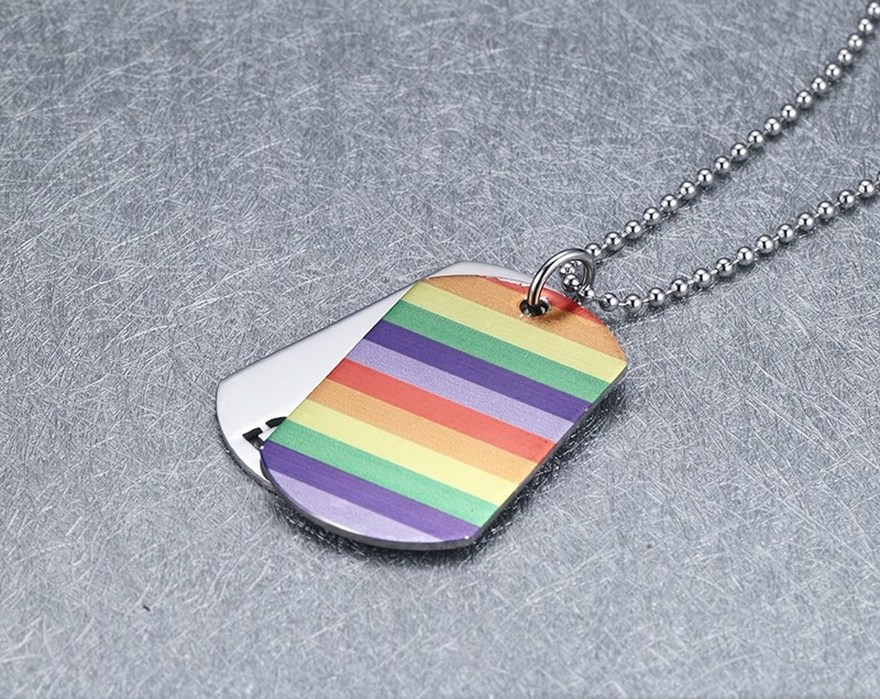Double Layer Stainless Steel Rainbow Necklace Gay Pride Dog Tag Necklace LGBT Rainbow Lesbian Pride Necklace 5