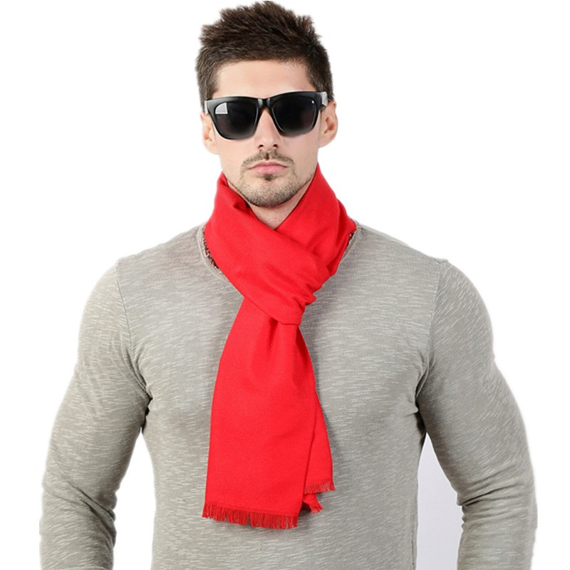 Fashion High Quality Solid Men Scarf Winter Autumn Scarfs Cashmere Warm Scarves 33cm 190cm Scarf 1