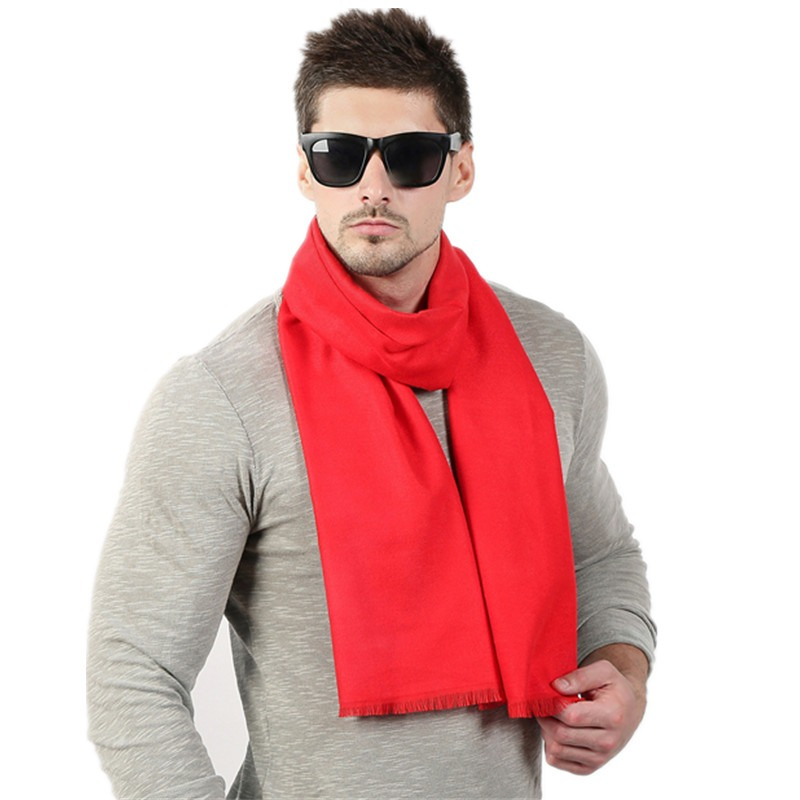 Fashion High Quality Solid Men Scarf Winter Autumn Scarfs Cashmere Warm Scarves 33cm 190cm Scarf 2
