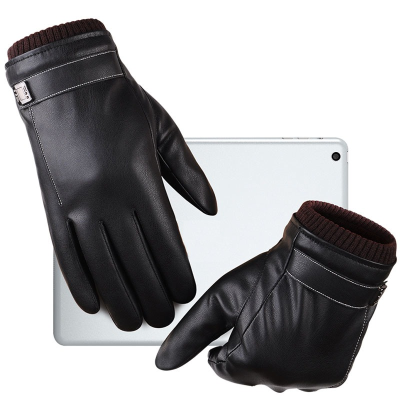 Leather Gloves Men s Winter Gloves Touch Screen Windproof Keep Warm Driving Guantes Male Autumn and 2