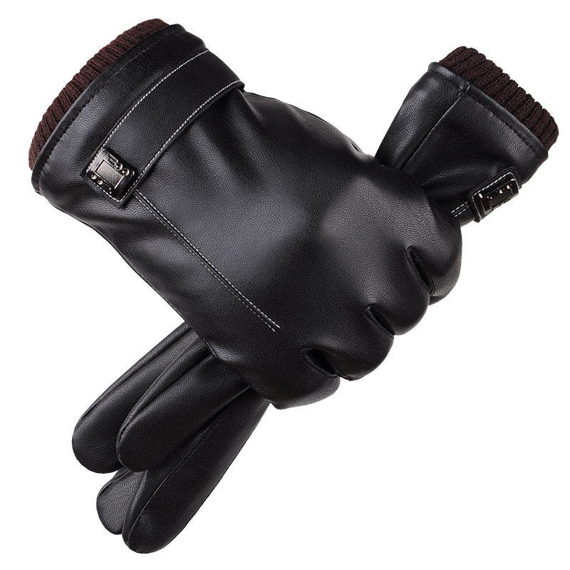 Leather Gloves Men s Winter Gloves Touch Screen Windproof Keep Warm Driving Guantes Male Autumn and 3