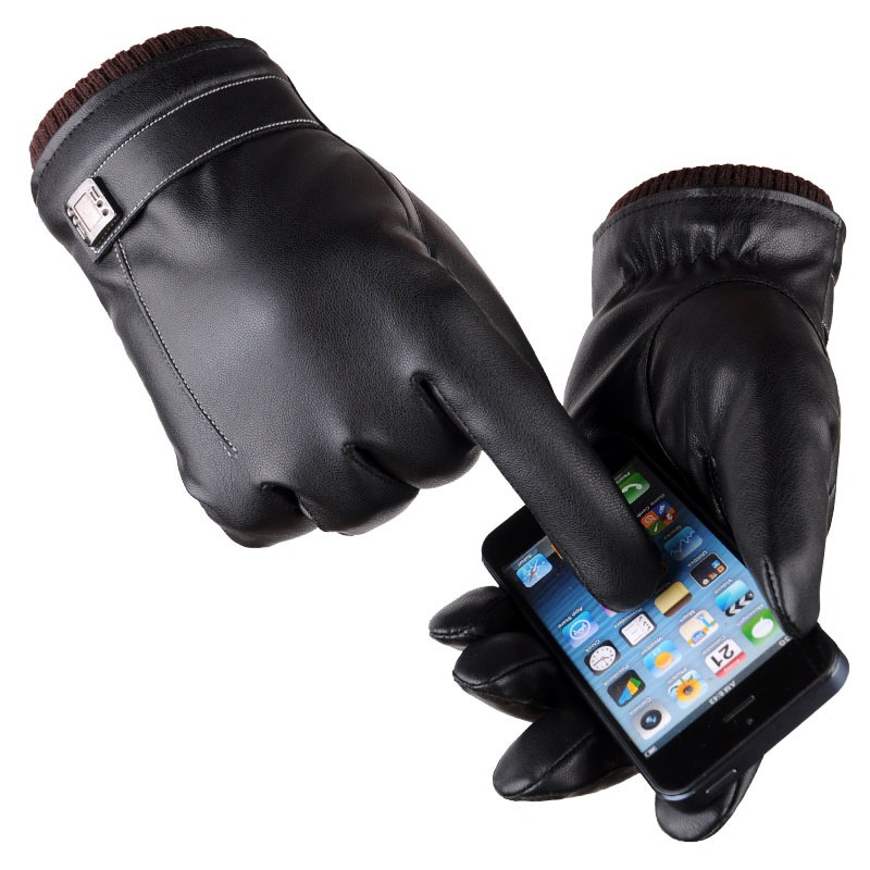 Leather Gloves Men s Winter Gloves Touch Screen Windproof Keep Warm Driving Guantes Male Autumn and 4