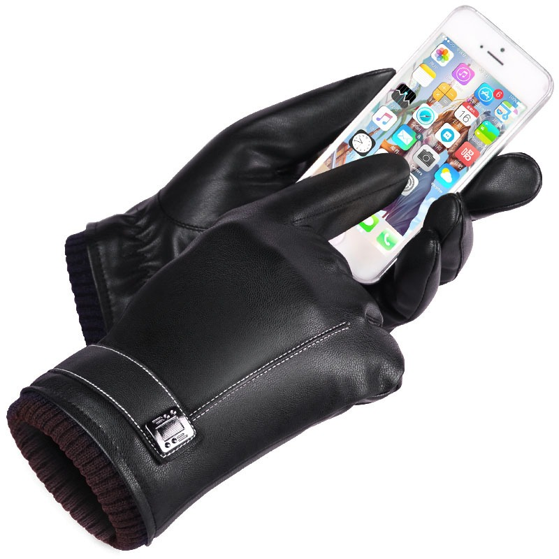 Leather Gloves Men s Winter Gloves Touch Screen Windproof Keep Warm Driving Guantes Male Autumn and