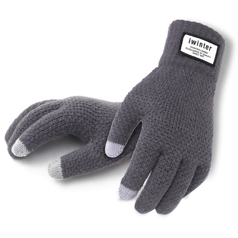 Men Knitted Gloves Touch Screen High Quality Male Thicken Warm Gloves Winter Autumn Men Mitten Men 2