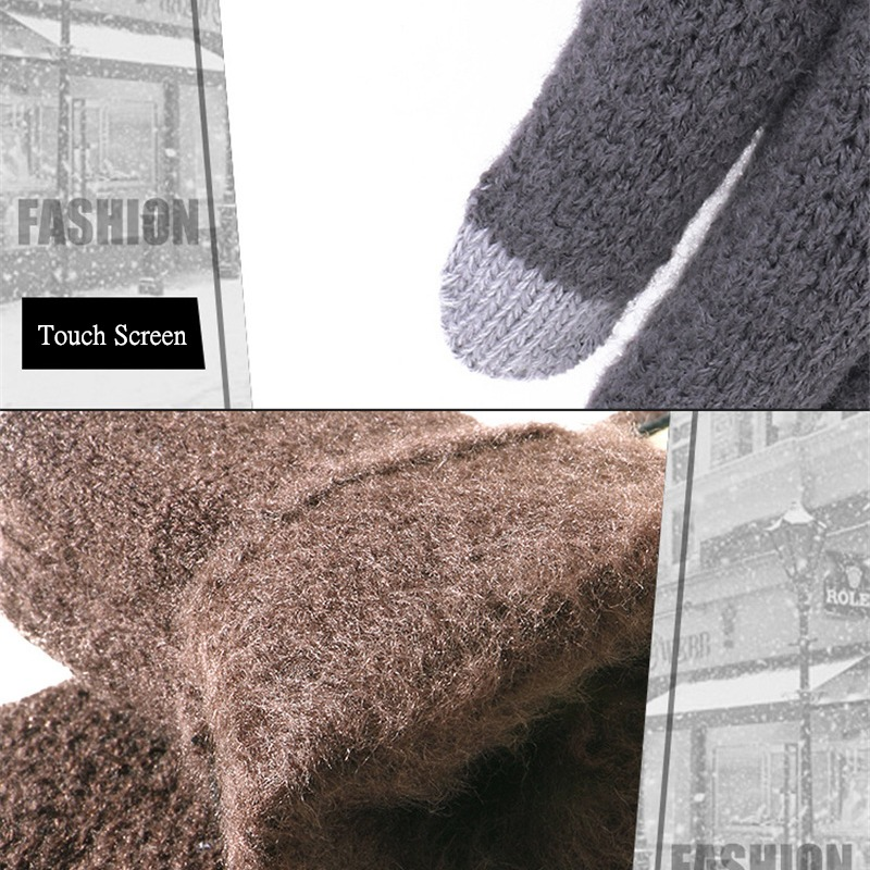 Men Knitted Gloves Touch Screen High Quality Male Thicken Warm Gloves Winter Autumn Men Mitten Men 4
