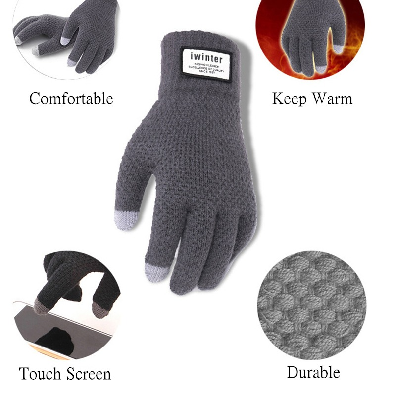 Men Knitted Gloves Touch Screen High Quality Male Thicken Warm Gloves Winter Autumn Men Mitten Men 5