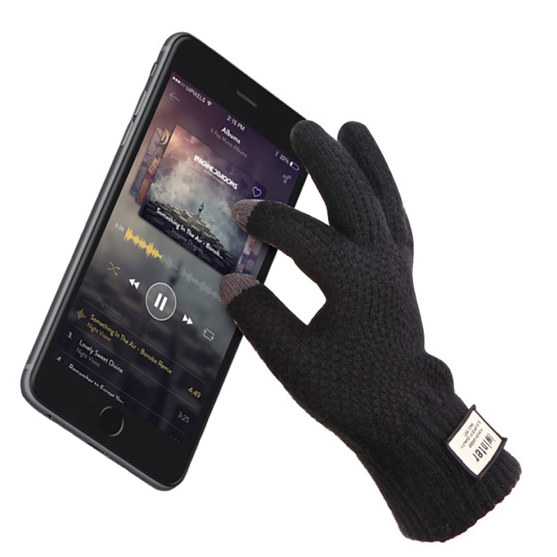 Men Knitted Gloves Touch Screen High Quality Male Thicken Warm Gloves Winter Autumn Men Mitten Men