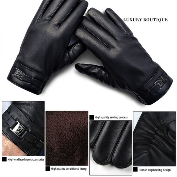 Men s Gloves Black Winter Mittens Keep Warm Touch Screen Windproof Driving Guantes Male Autumn Winter 1