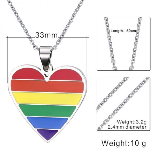 Mprainbow Gay Pride Rainbow Heart Shape Pendant Necklace in Stainless Steel Lesbian LGBT Choker Jewelry 1
