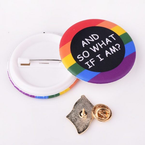 New Gay Pride Fashion Jewelry LGBT Map Flag Shape Rainbow Homosexual Pin Badge Pinback Button Support 1