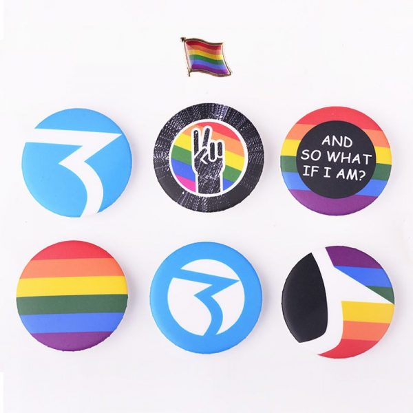 New Gay Pride Fashion Jewelry LGBT Map Flag Shape Rainbow Homosexual Pin Badge Pinback Button Support