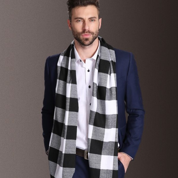 SORRYNAM 2018 New Europe Fashion Shawl Scarves Men Winter Warm Tartan Scarf Business Sjaal Plaid Modal 1