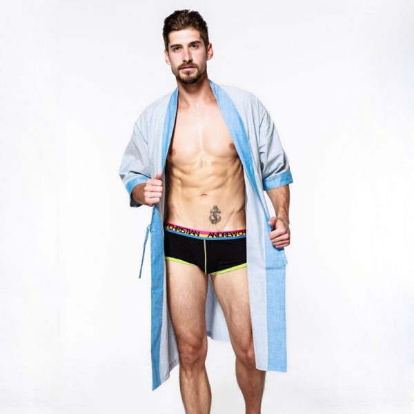 Sexy Cotton bathrobes men summer casual kimono robes loose pure color couples male pyjama Spa robes