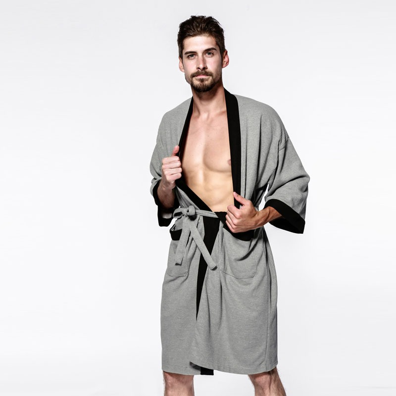 Sexy waffle cotton male robes bathrobes long sleeved quality hotel Sauna SPA lovers bathrobes roupao men 1