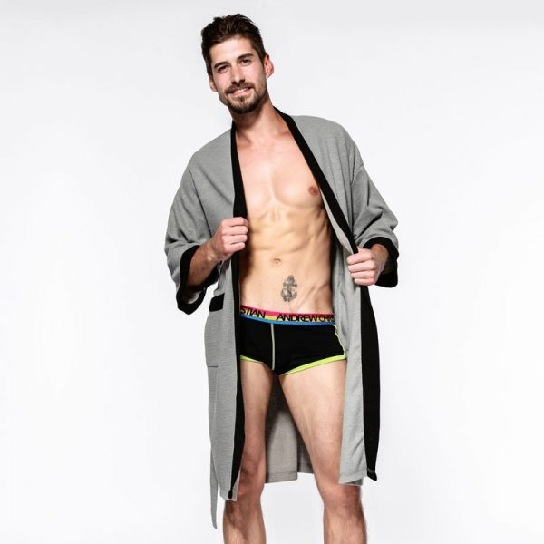 Sexy waffle cotton male robes bathrobes long sleeved quality hotel Sauna SPA lovers bathrobes roupao men 2