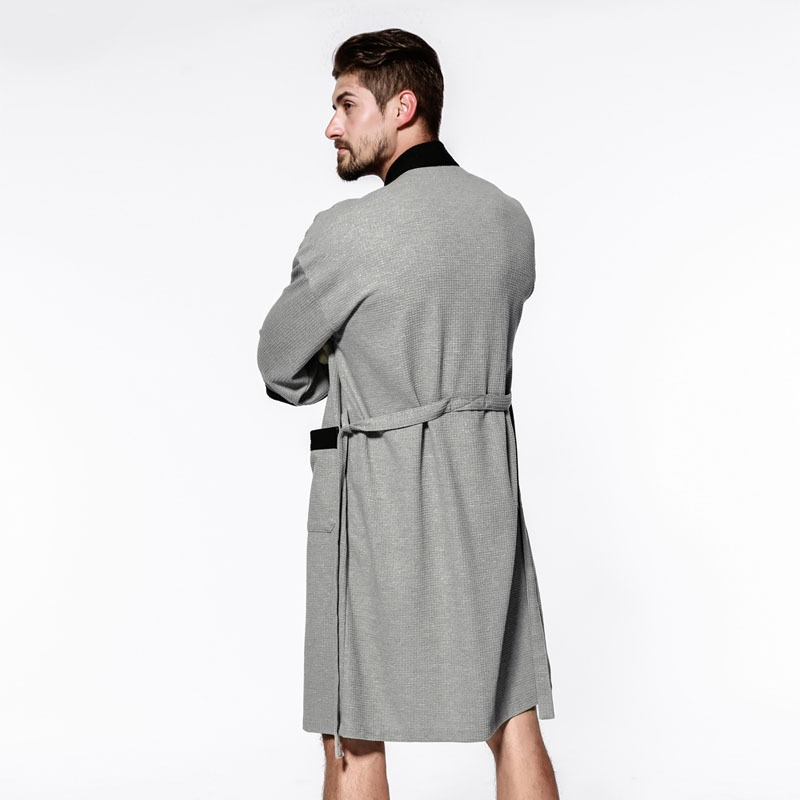 Sexy waffle cotton male robes bathrobes long sleeved quality hotel Sauna SPA lovers bathrobes roupao men 3