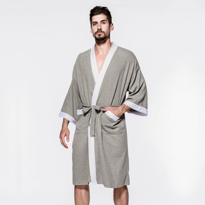 Sexy waffle cotton male robes bathrobes long sleeved quality hotel Sauna SPA lovers bathrobes roupao men 4