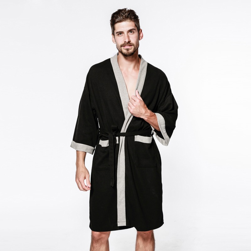 Sexy waffle cotton male robes bathrobes long sleeved quality hotel Sauna SPA lovers bathrobes roupao men