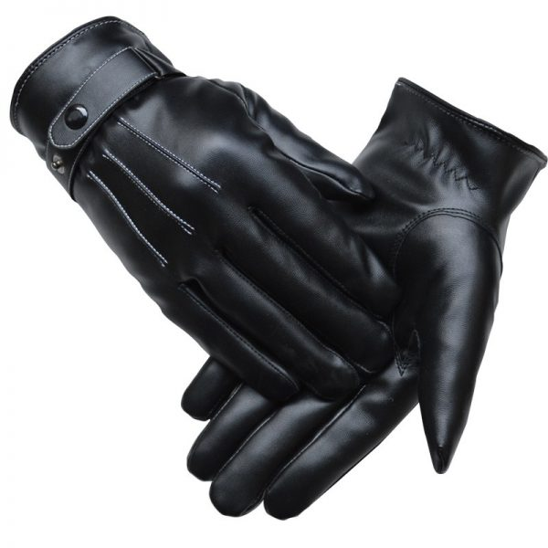 Stylish Mens Touch Screen Leather Gloves Winter Keep Warm Windproof Driving Guantes Mittens Male Black Brown 1