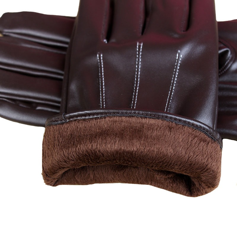 Stylish Mens Touch Screen Leather Gloves Winter Keep Warm Windproof Driving Guantes Mittens Male Black Brown 4
