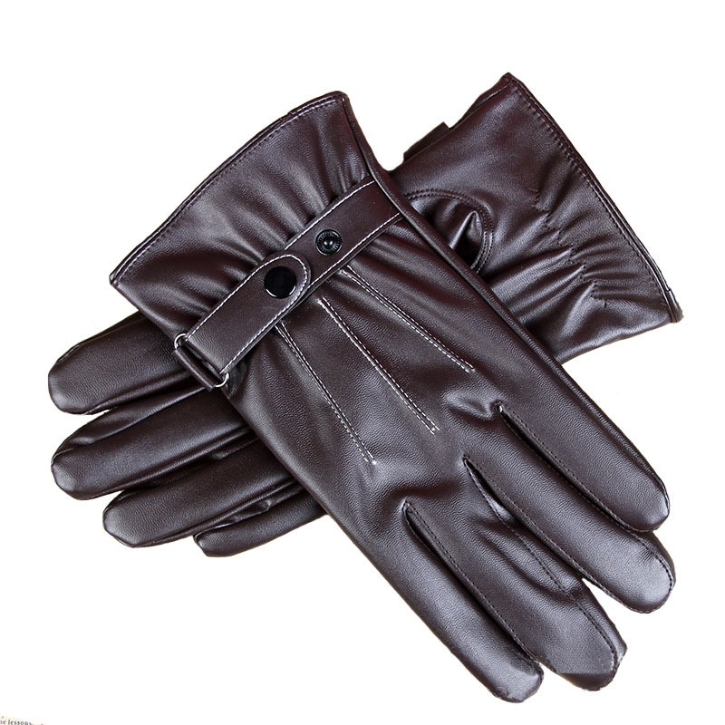 Stylish Mens Touch Screen Leather Gloves Winter Keep Warm Windproof Driving Guantes Mittens Male Black Brown 5