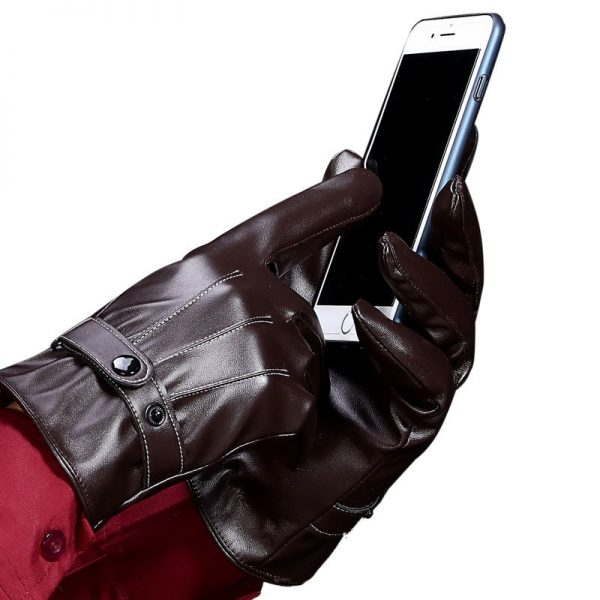 Stylish Mens Touch Screen Leather Gloves Winter Keep Warm Windproof Driving Guantes Mittens Male Black Brown