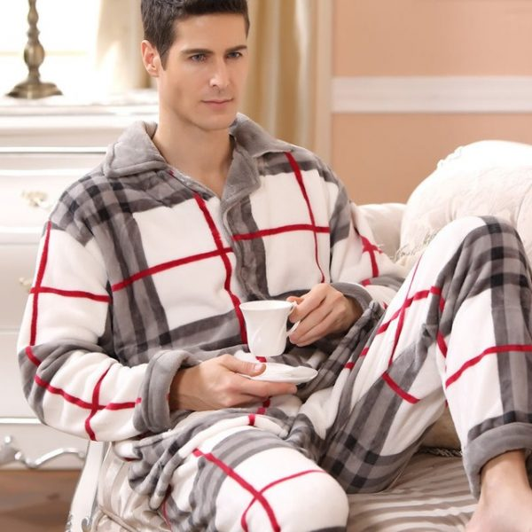 SusanDick 2017 New Winter Pajamas Men Thick Fleece Pajama Sets Luxury Warm Sleepwear Plaid Suits Man 5.jpg 640x640 5