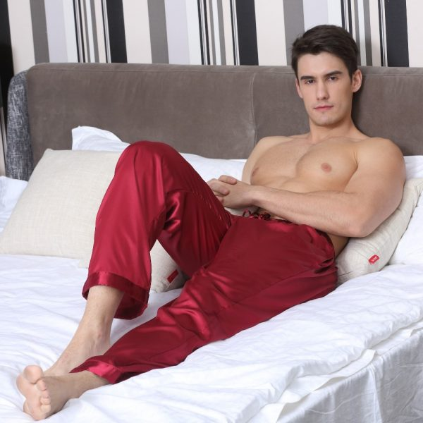 Tony Candice Pajama Pants Men Satin Silk Sleep Bottoms Casual Trousers Male Sleepwear Mens Long Lounge