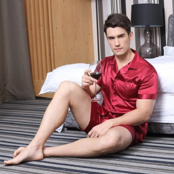 Tony Candice Satin Silk Pajamas Shorts For Men Rayon Silk Sleepwear Summer Male Pajama Set Soft
