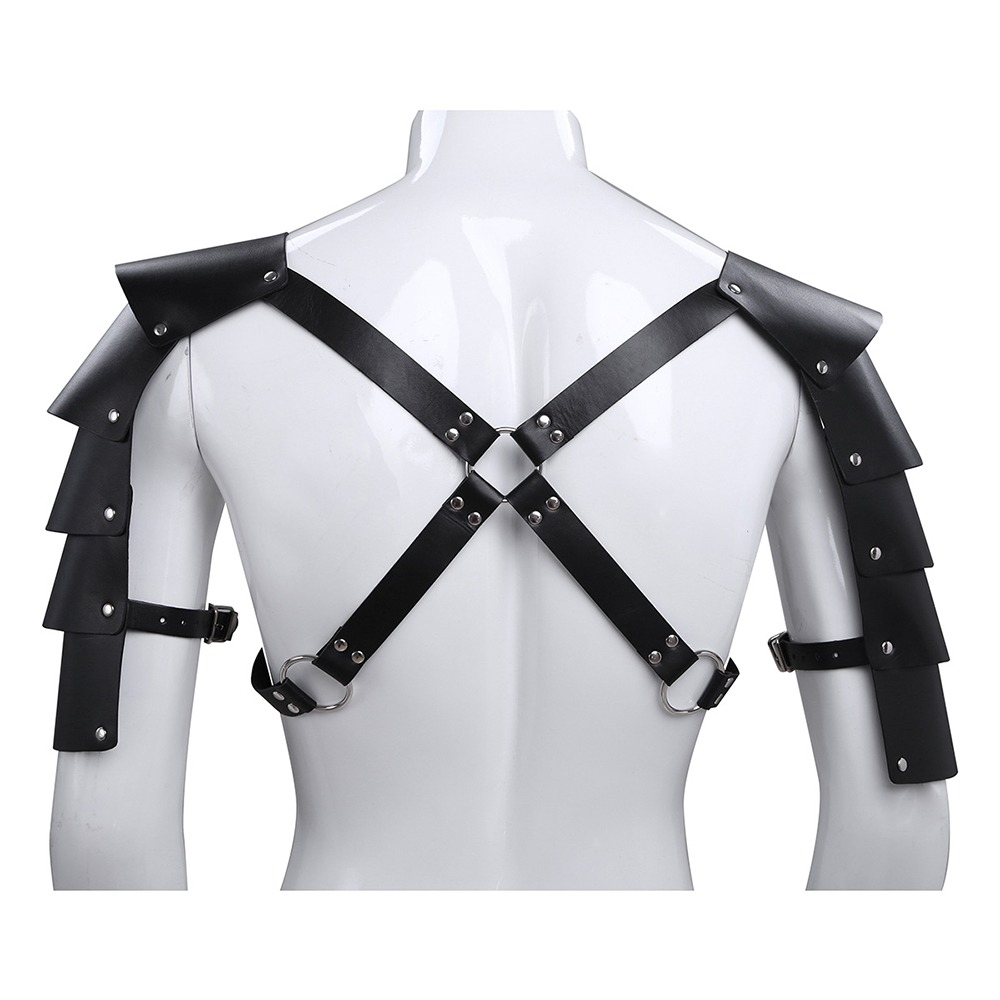 iEFIEL Men Sexy Gay Lingerie Faux Leather Adjustable Body Chest Harness Bondage Costume Shoulder Armors Buckles 1