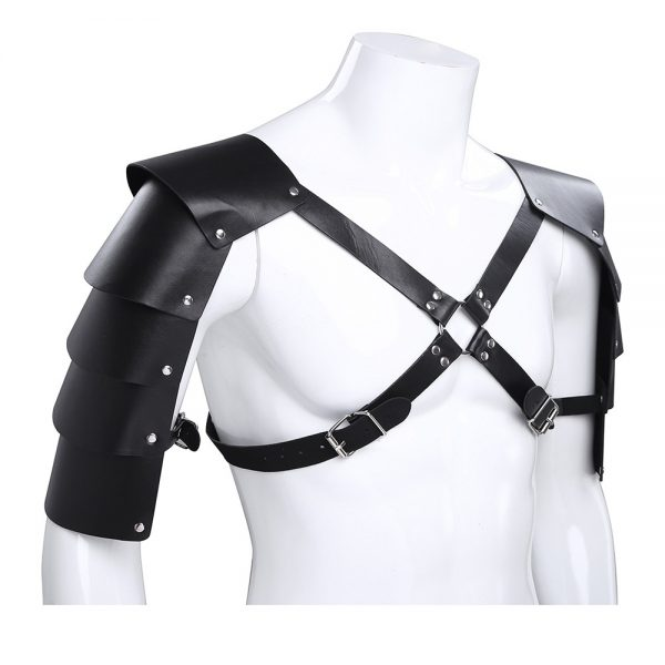 iEFIEL Men Sexy Gay Lingerie Faux Leather Adjustable Body Chest Harness Bondage Costume Shoulder Armors Buckles