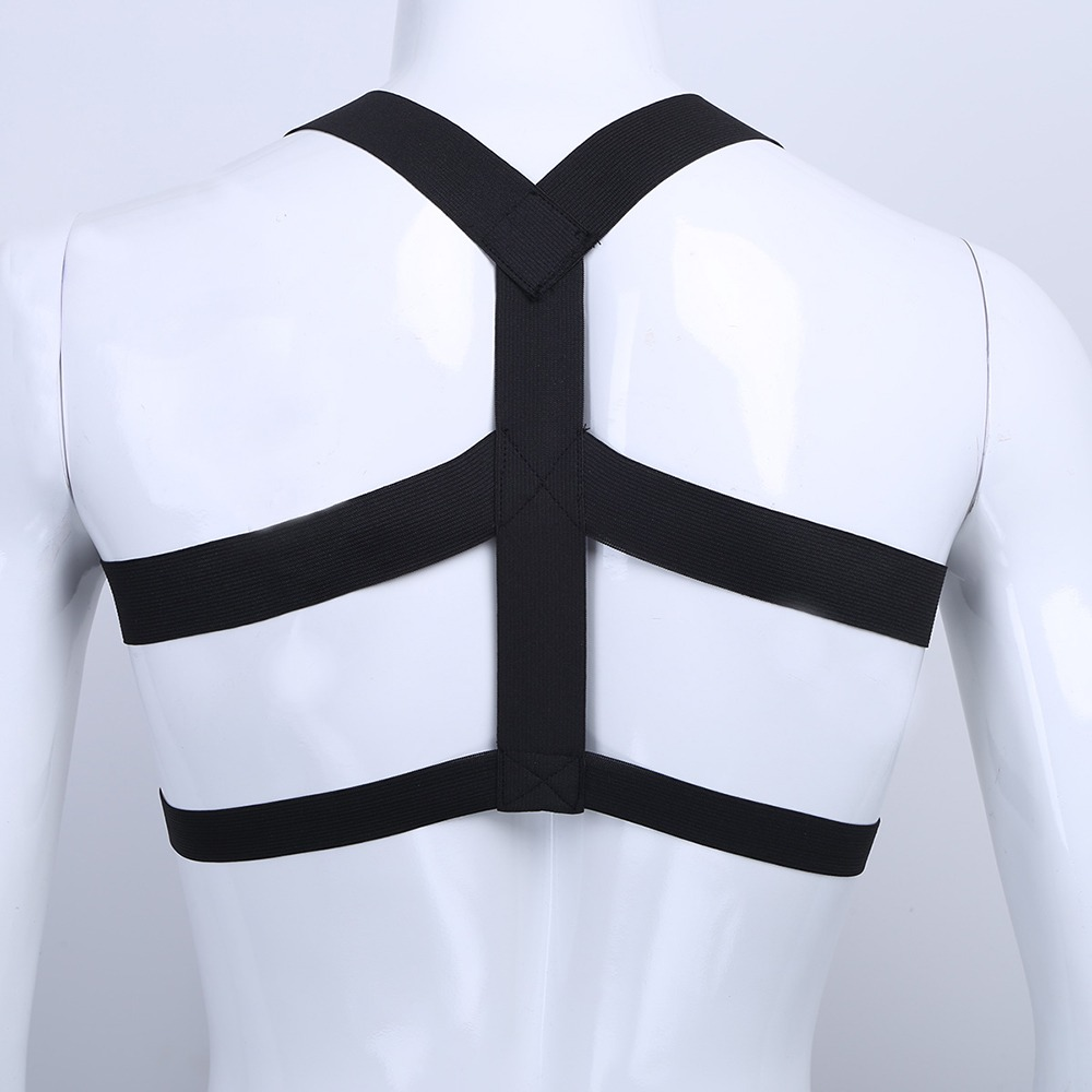 iEFiEL Brand Hot Mens Lingerie Body Chest Harness Bondage Costume Wetlook Halter Neck Nightclub Hollow Out 1