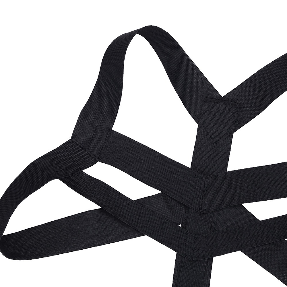 iEFiEL Brand Hot Mens Lingerie Body Chest Harness Bondage Costume Wetlook Halter Neck Nightclub Hollow Out 2