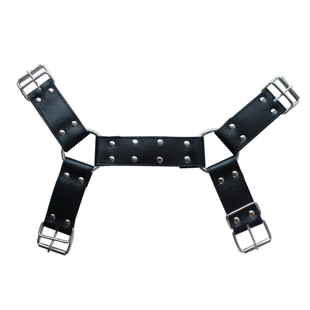iEFiEL Mens Adult Black PU Leather Adjustable Body Chest Half Harness Belts Fashionable Inside Outside Costume 3