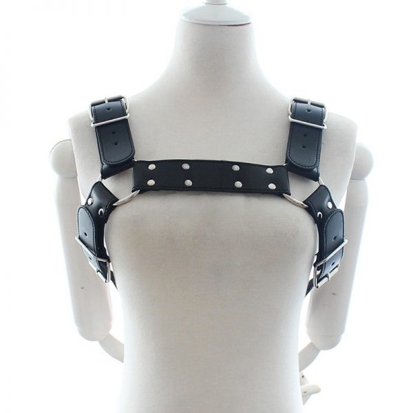 iEFiEL Mens Adult Black PU Leather Adjustable Body Chest Half Harness Belts Fashionable Inside Outside Costume