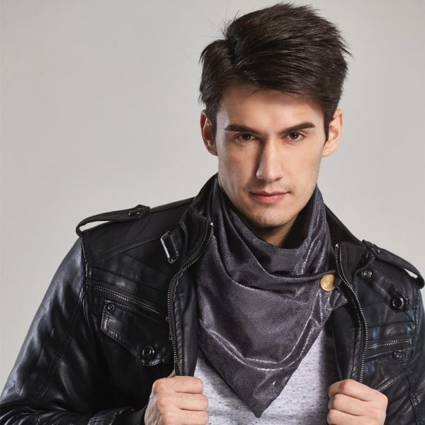 leo anvi warm men scarf luxury brand winter infinity bandana designer Leather and cotton type tube