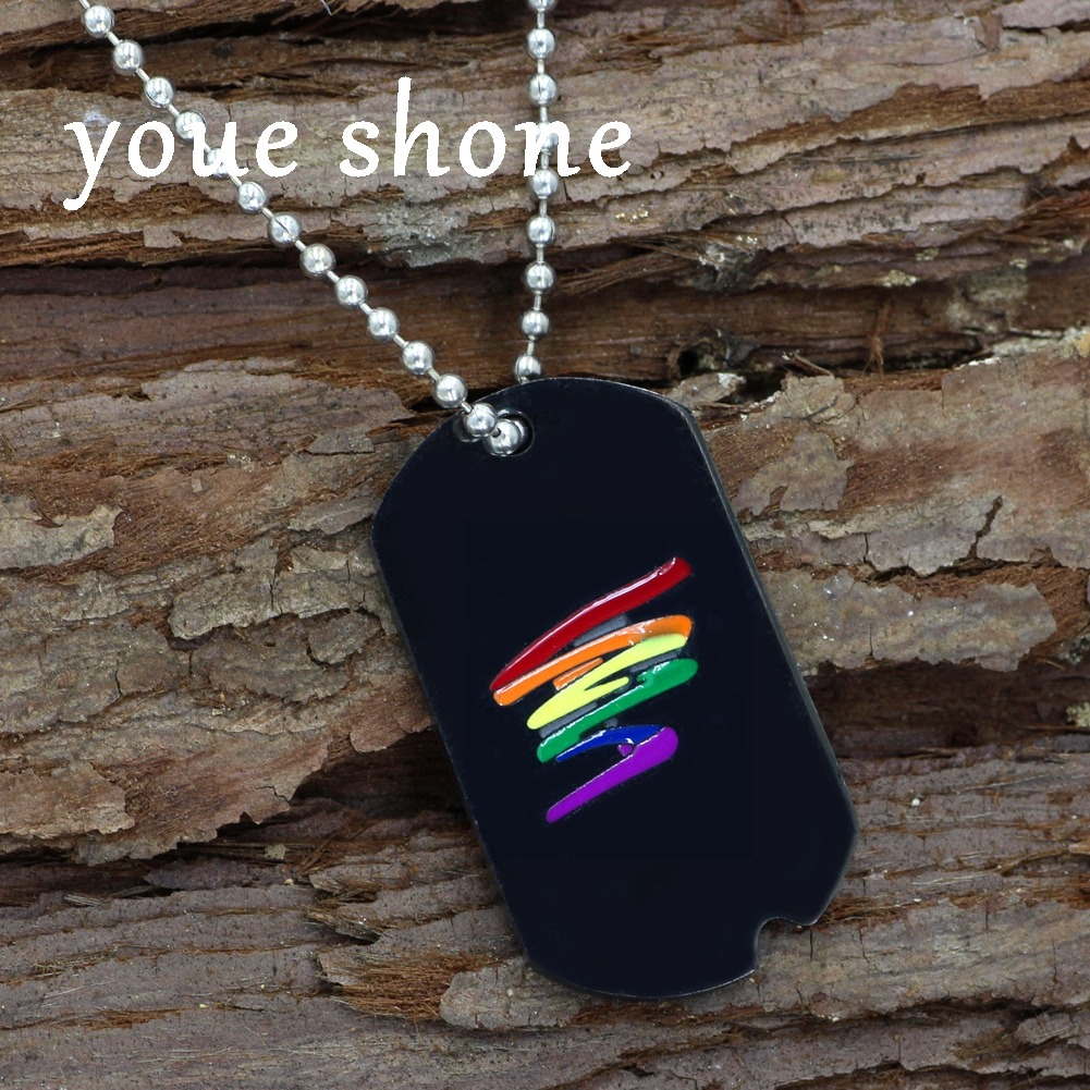 youe shone Stainless Steel Black Gay Pride Dog Tag Rainbow Squiggle LGBT Gay and Lesbian Pride 3