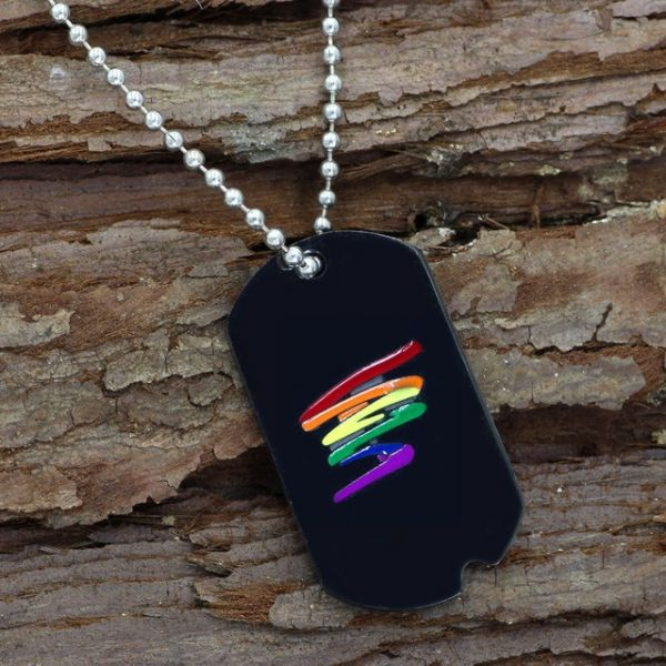 youe shone Stainless Steel Black Gay Pride Dog Tag Rainbow Squiggle LGBT Gay and Lesbian Pride.jpg 640x640